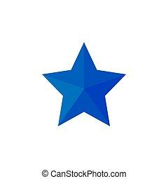 bleu, plat, étoile, vecteur, icon., illustrations., design.