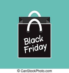bleu, plat, achats, vendredi, sac, noir