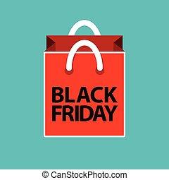 bleu, plat, achats, vendredi, sac, rouge noir