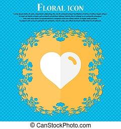 bleu, plat, aimez coeur, résumé, text., vecteur, conception, fond, floral, endroit, ton