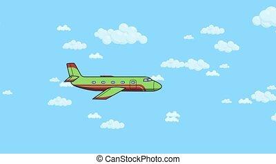 bleu, plat, animation., voler, ciel, clouds., fond, avion, animé, blanc dehors