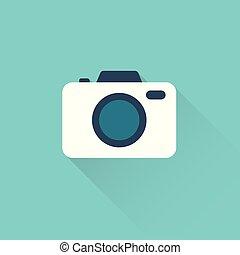 bleu, plat, appareil photo, fond, icône