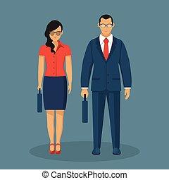 bleu, plat, bussineswoman, isolé, illustration, arrière-plan., vecteur, conception, homme affaires