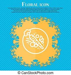 bleu, plat, carott, signe., text., résumé, vecteur, conception, fond, floral, endroit, ton, icône