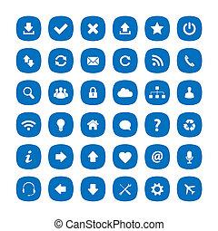 bleu, plat, carrée, arrondi, icônes