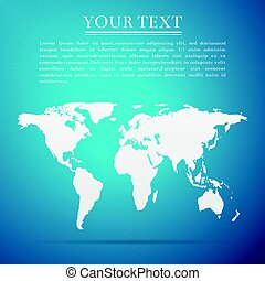 bleu, plat, carte, illustration, arrière-plan., vecteur, mondiale, icône