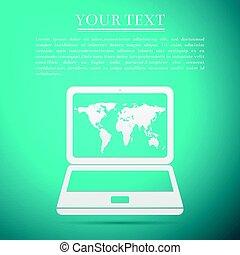 bleu, plat, carte, ordinateur portable, illustration, arrière-plan., vecteur, mondiale, icône