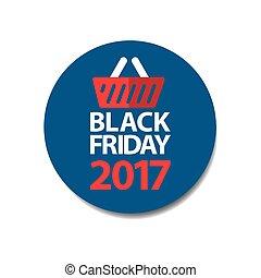 bleu, plat, coût, vendredi, étiquette, noir, 2017, autocollant