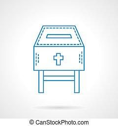 bleu, plat, collecte fonds, vecteur, église, ligne, icône