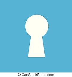 bleu, plat, commercialisation, concept., moderne, pictogramme, business, arrière-plan., trou de la serrure, icône internet