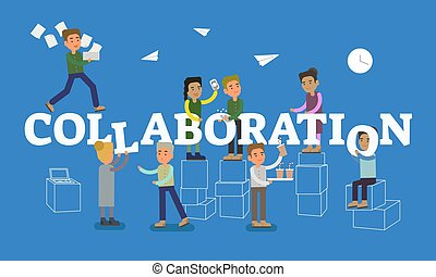 bleu, plat, concept, dialoguer, gens bureau, collaboration, travail, chaque, scène, illustration, portion, arrière-plan., fonctionnement, autre, vecteur, ensemble, conceptuel, tittle, place.