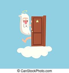 bleu, plat, concept, dieu, pelucheux, door., caractère, isolé, book., ou, arrière-plan., derrière, vecteur, jeter coup oeil, carte, sourire, religieux, nuage blanc, dehors