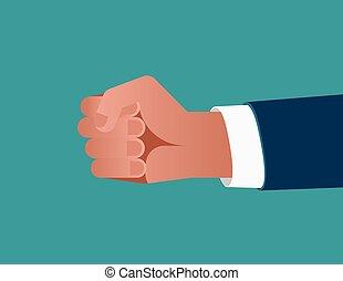 bleu, plat, concept, illustration., business, homme affaires, arrière-plan., vecteur, poing