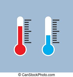 bleu, plat, conception, thermomètre, indicateurs, rouges