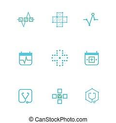 bleu, plat, différent, pouls, emblème, icônes, logos, graphique ligne, coeur, concept.logo, médicament ligne, croix, monochrome, formes, compositions, icône
