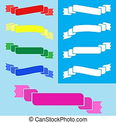 bleu, plat, ensemble, coloré, isolé, fond, bannière, ruban