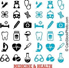 bleu, plat, ensemble, icônes, monde médical, noir