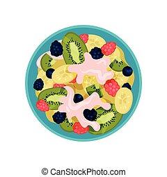 bleu, plat, fait, kiwi, salade, sommet, dish., bol fruit, vecteur, mûre, délicieux, yaourth, banane, baies, vue., icône