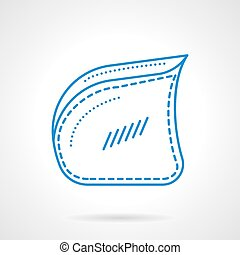 bleu, plat, fauteuil, vecteur, ligne, côté, icône