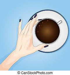 bleu, plat, femme, bon, coffee., fonctionnement, sommet, mains, illustration, matin, day., début, vecteur, fond, tenue, vue., début, avant