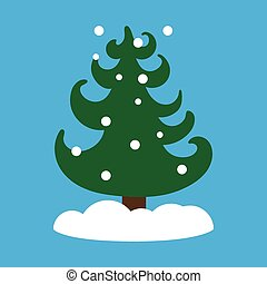 bleu, plat, flocons neige, arbre, fond, icône