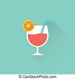 bleu, plat, fond, cocktail, icône