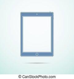 bleu, plat, fond, tablette, icône