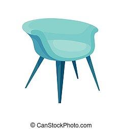 bleu, plat, furniture., fauteuil, moderne, long, amorti, clair, vecteur, legs., élégant, chaise, confortable, doux, icône