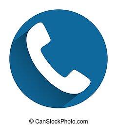 bleu, plat, gris, téléphone, fond, ombre, icône