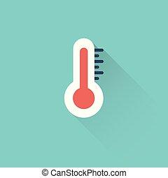 bleu, plat, icône, fond, thermomètre