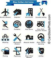 bleu, plat, icônes, -, métier, noir, collier