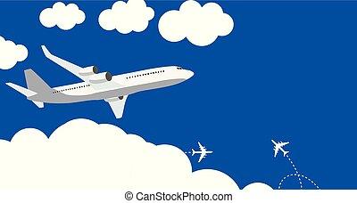 bleu, plat, illustration, arrière-plan., vecteur, avion, icône