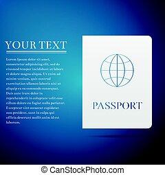 bleu, plat, illustration, arrière-plan., vecteur, passeport, icône