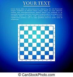 bleu, plat, illustration, arrière-plan., vecteur, planche, icône, échecs
