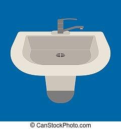 bleu, plat, illustration., arrière-plan., vecteur, sombrer, icône