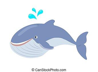 bleu, plat, illustration, vecteur, baleine, dessin animé