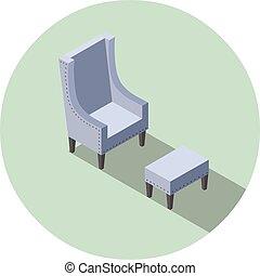 bleu, plat, isométrique, fauteuil, vendange, vecteur, conception, intérieur, element., 3d
