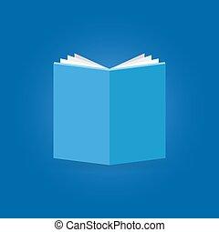 bleu, plat, livre, fond, icône
