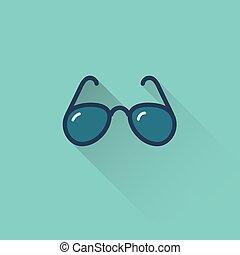 bleu, plat, lunettes soleil, fond, icône