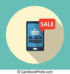 bleu, plat, mobile, vendredi, vente, illustration, noir