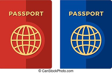 bleu, plat, moderne, illustration, vecteur, passports., passport., rouges, design.