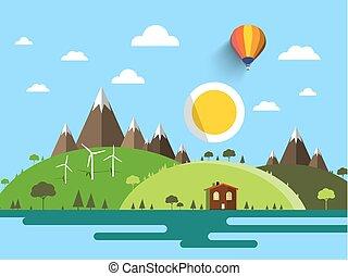 bleu, plat, montagnes, soleil, collines, ciel, maison, vecteur, conception, paysage