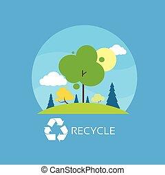 bleu, plat, nuages, eco, ciel, arbre, vecteur, vert, recycler, icône