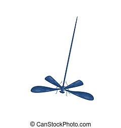 bleu, plat, paires, corps, fast-flying, long, wings., thème, vecteur, deux, petit, faune, dragonfly., insecte, icône