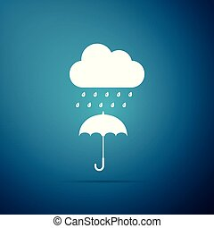 bleu, plat, parapluie, goutte, isolé, pluie, arrière-plan., vecteur, illustration, icône, nuage, design.