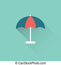 bleu, plat, parapluie, parasol, fond, icône