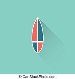 bleu, plat, planche surf, fond, icône