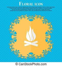 bleu, plat, résumé, text., fire., vecteur, conception, fond, floral, endroit, ton