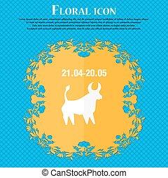 bleu, plat, résumé, text., taureau, vecteur, conception, fond, floral, endroit, icon., ton