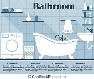 bleu, plat, salle bains, long, intérieur, ombres